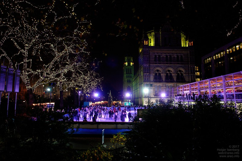 Ice skating in front of the Victoria & Albert Museum.