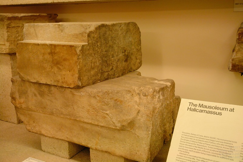 Limestone from the Mausolem at Halicarnassus showing perfect three dimensional fitting of the joint without mortar. British Museum.