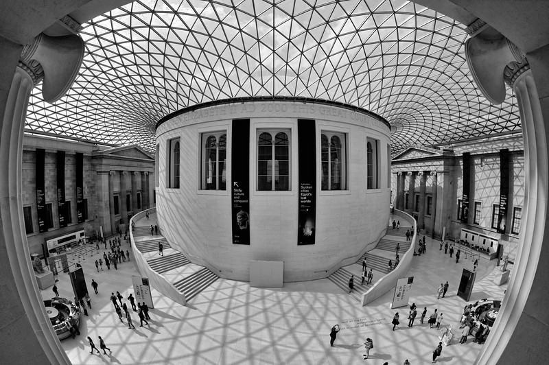 The Great Court, flooded by the afternoon sun (b/w)