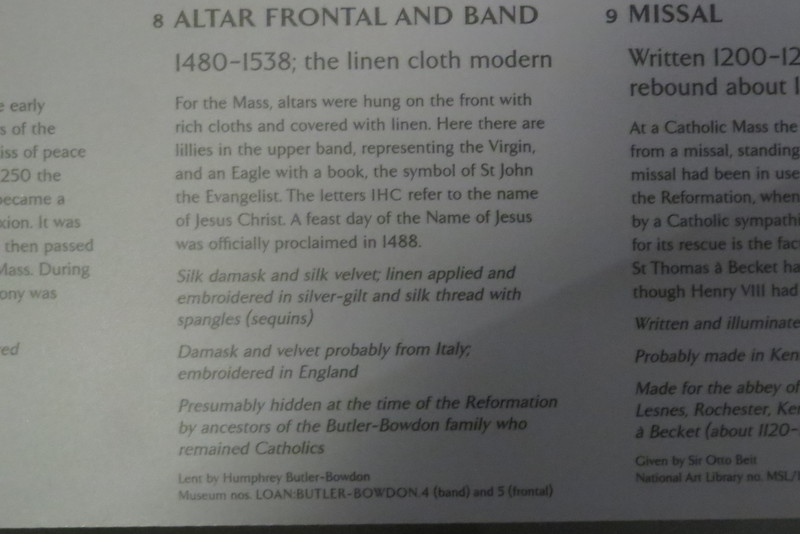 Altar Frontal and Band Loan Butler-Bowdon 4 & 5 information card