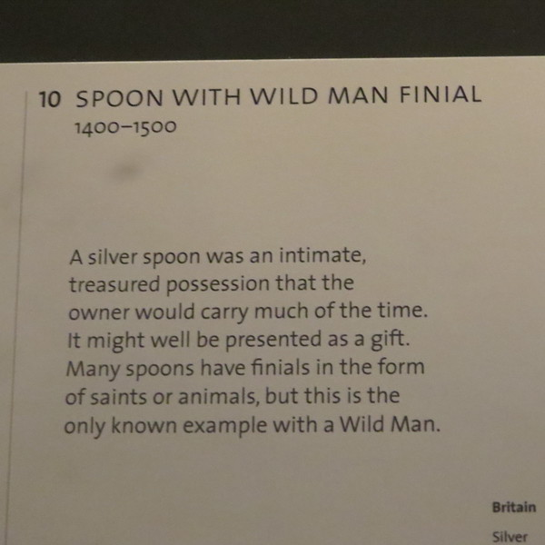 Spoon with wild man finial 65-1921 info card