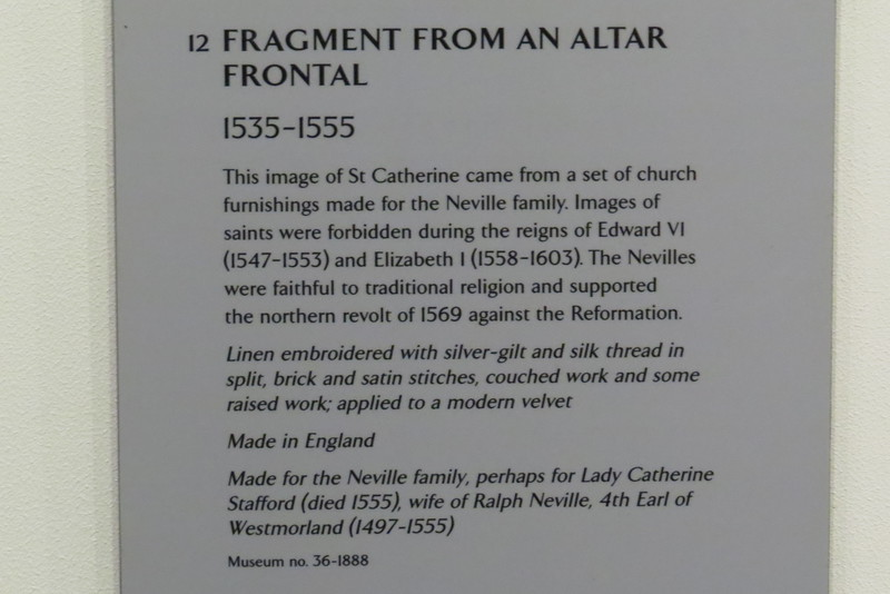 Fragment from an Altar Frontal 36-1888 information card