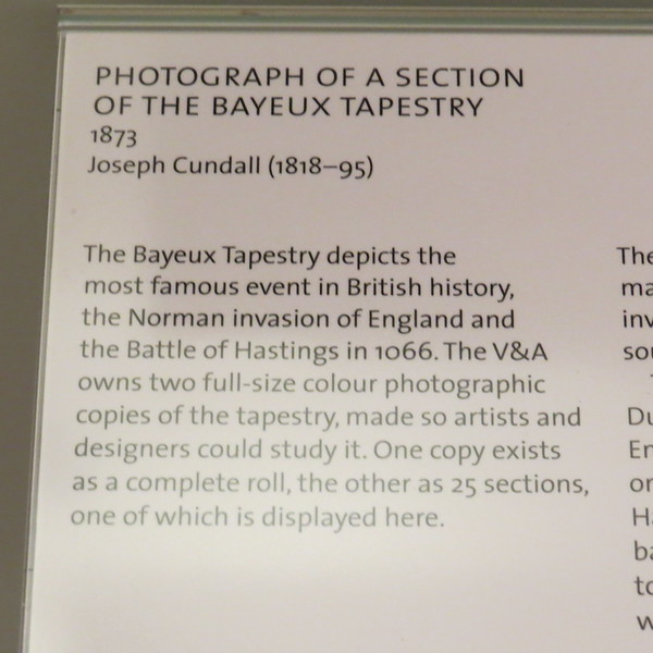 Photo (hand colored print) of a section of the Bayeux Tapestry E.573:17-2005 info card