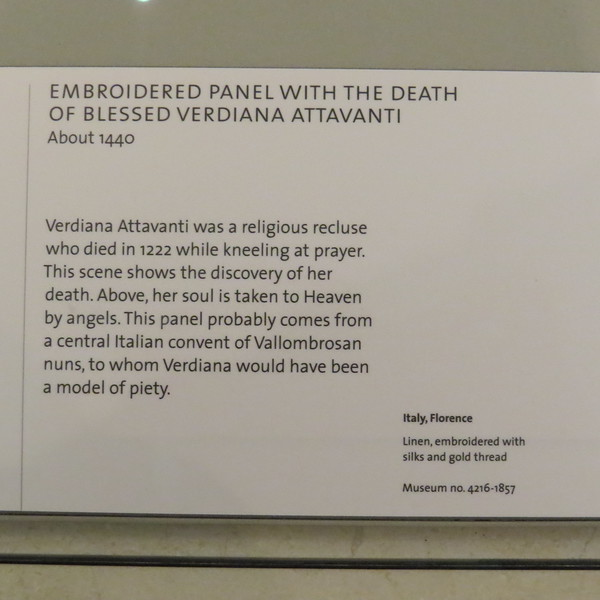 Embroidered pane with the death of blessed Verdiana Attavanti 4216-1857 info card