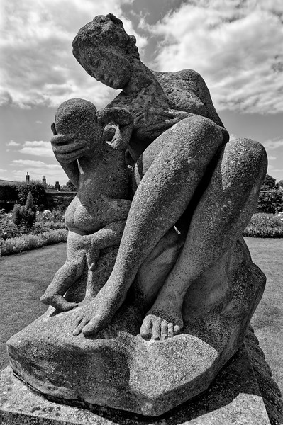 Abundance, a statue in the Rose Garden (vertical, b/w)