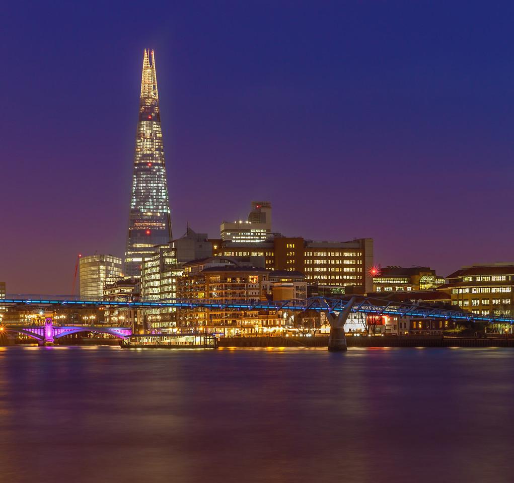 The Shard and the Millennium Bridge at Night