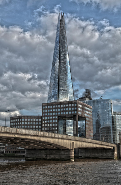 London Bridge in London, England with The Shard.