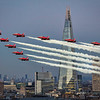 Red Arrows Flypast with Smoke at The Shard