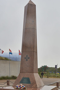 Monument of the 4th Infantry Division, Utah Beach, Normandy, France, The Monument honors all the men of the 4th Infantry Division who fought in the Second World War.  The monument was inaugurated on June 6, 1964 by General Bradley, commanding officer of the 1st U.S. Army at UTAH and OMAHA in 1944.