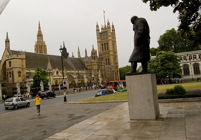 Winston Churchill Winston keeping an eye on the House of Parliament from Parliament Square.