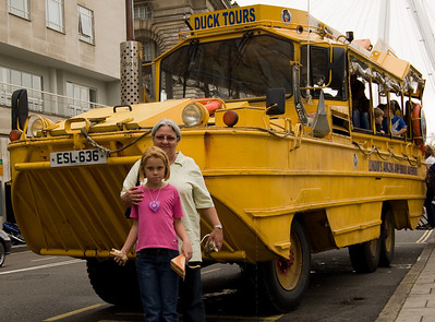 Mum & Sam Next To the Duck Bus