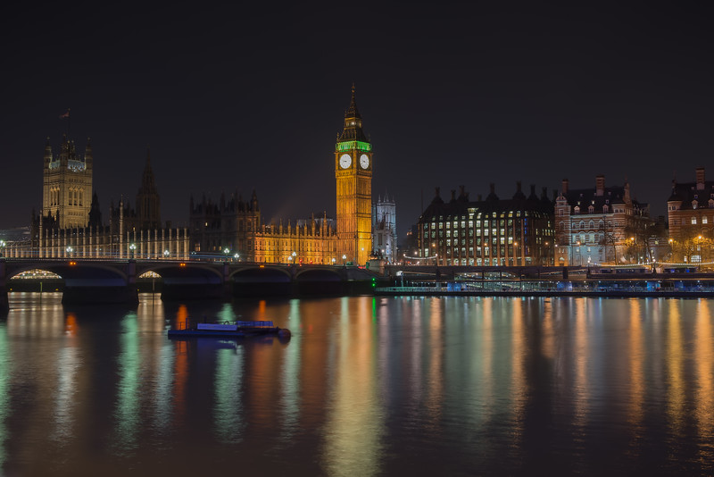 London At Night From the South Bank of the River Thames