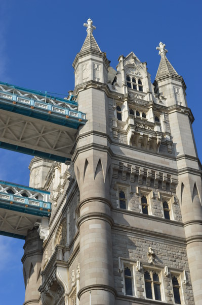 Detail of Tower on Tower Bridge over the River Thames in London, England.