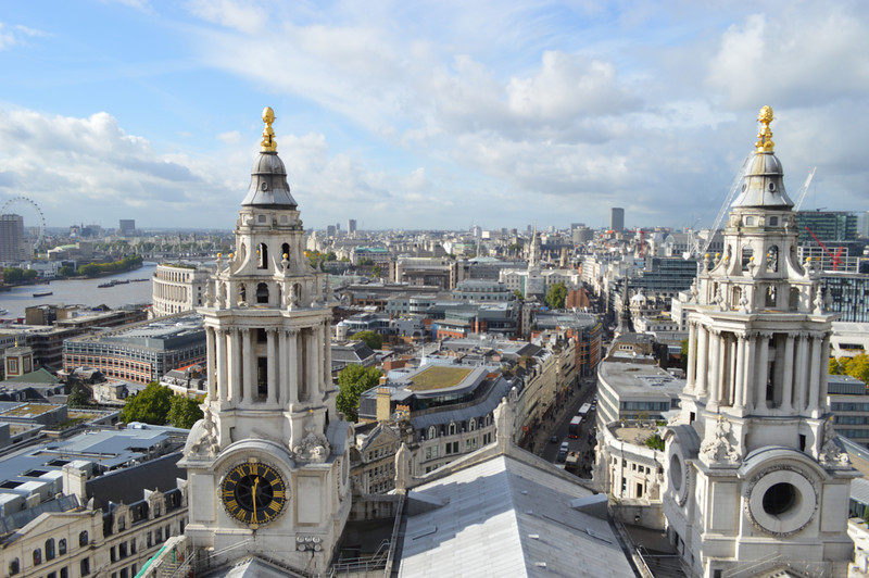 View of the River Thames and London from the Stone Gallery of St. Paul's Cathedral
