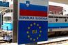 Slovenia and EU border sign, Dobova Station, Slovenia, Sat 23 May 2009.    Dobova is on the border with Croatia.