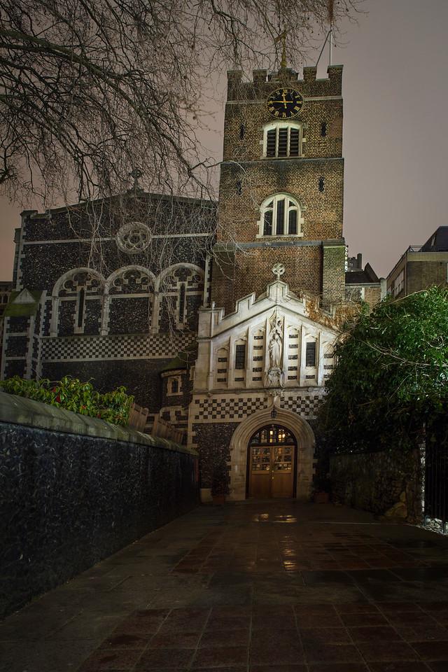 St Bartholomew The Great Church near Smithfield Market in London at night