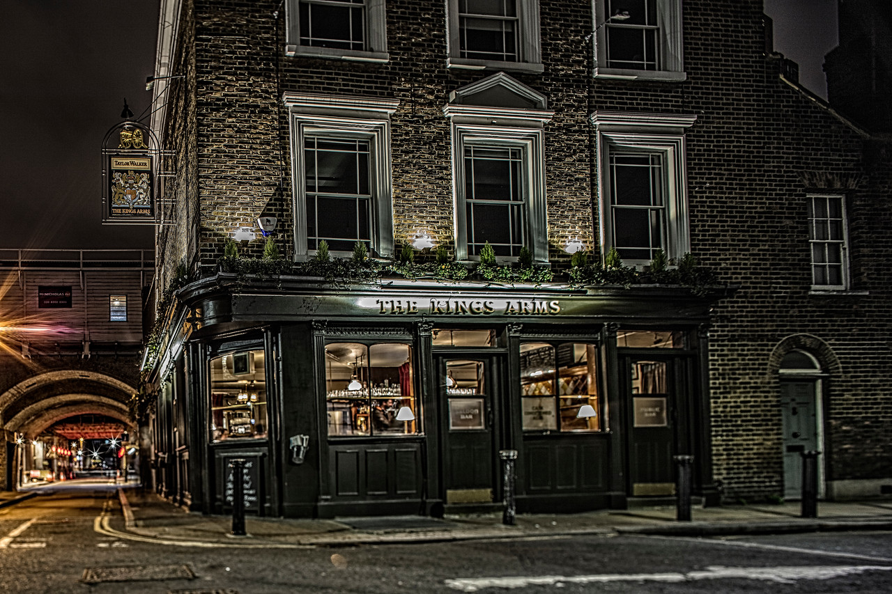 The Kings Arms pub in an old Victorian street with cobbles at Waterloo in London