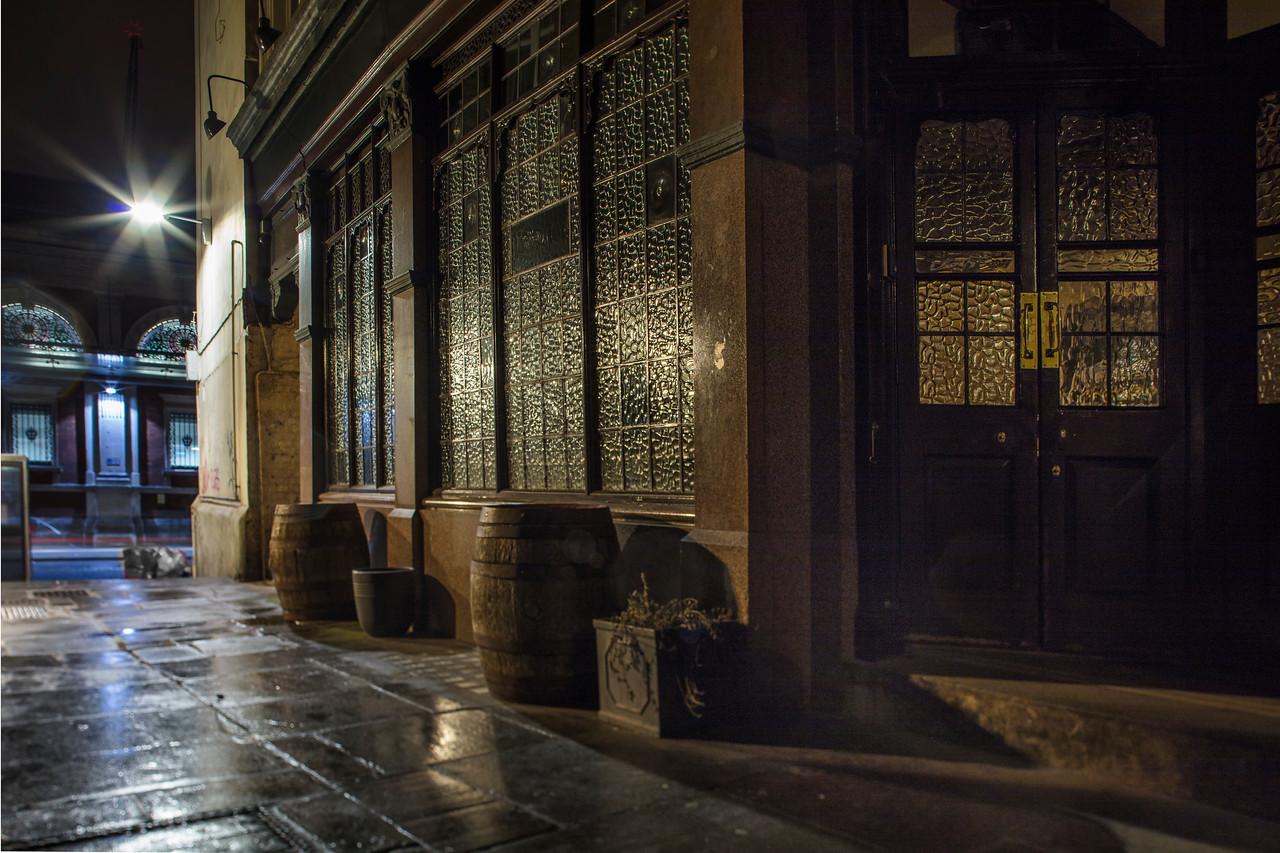 Old Oak Barrels outside The Rising Sun pub near Smithfield Market in London