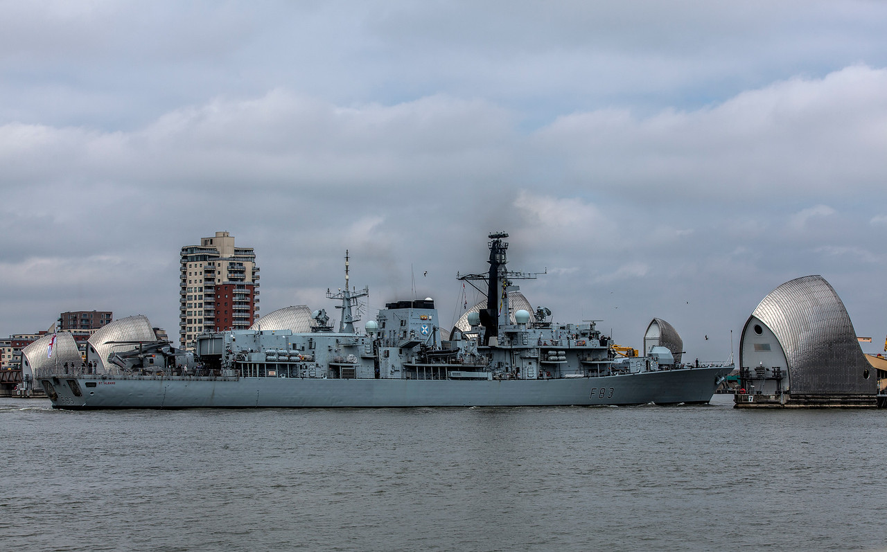 Royal Navy Ship at the Thames Barrier in Woolwich, London