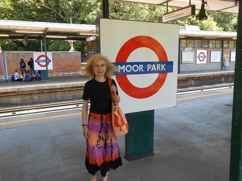 Liz at Moor Park before we went to check out the Sandy lodge <br /> <br /> entrance exit at Moor Park that Geoff Marshall shows people on the <br /> <br /> Secrets of the Metropolitan line Video <br /> <br /> Address <br /> <br /> Moor Park Station<br /> <br /> London Underground Ltd.<br /> <br /> Sandy Lodge Lane<br /> <br /> Rickmansworth<br /> <br /> Herts<br /> <br /> HA6 2JQ.