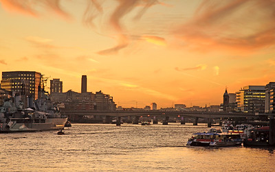 London - The River Thames at Sunset