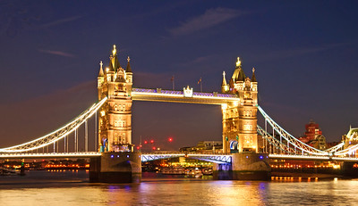 Tower Bridge on the River Thames at night