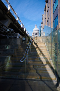 St Pauls from the base of Millennium Bridge