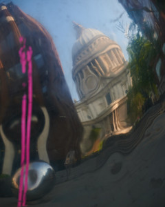Distorted reflection of St Paul's Cathedral