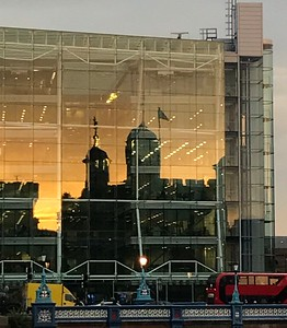 Cropped sunset reflection
