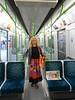 Liz on the Ghost Train Shuttle waitng to depart High Street Kensington