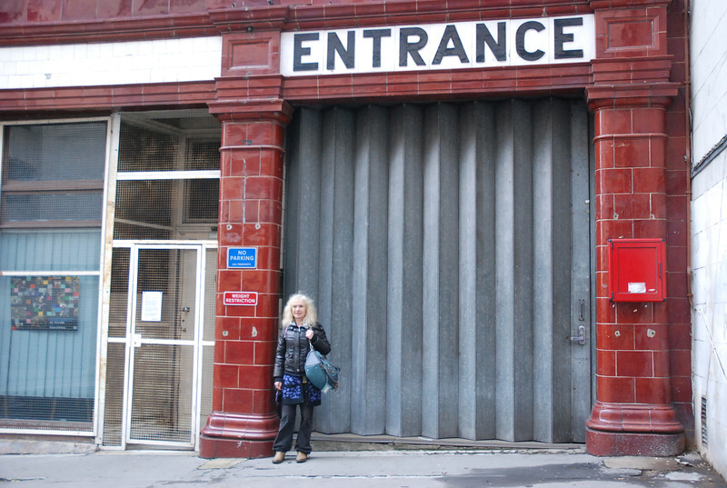 Liz outside the Surrey street entrance to the Aldwych <br /> <br /> Ghost Station # 24 in the book