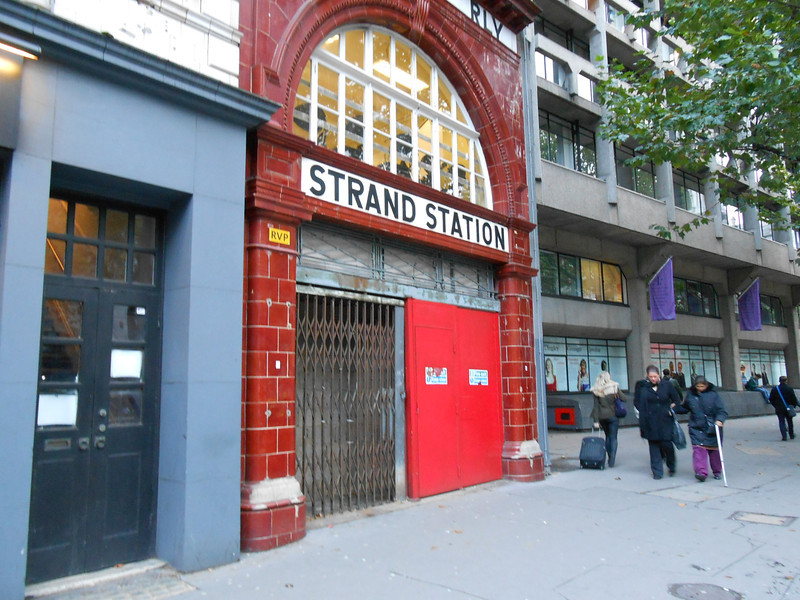 pic by Liz<br /> <br /> I never knew that this entrance existed so i was glad to get some pics of this entrance for the site <br /> <br /> this is the main entrance i assume that is on the Strand <br /> <br /> it even has the original Strand Station in the brick work