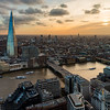 London and Shard from above at sunset
