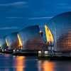 Thames Flood Barrier at nightfall