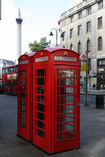 Red phone boxes and Nelson's Column