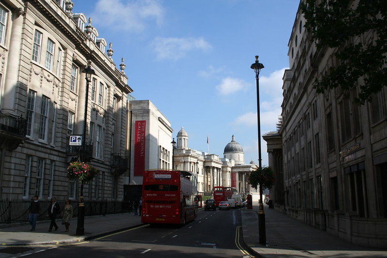 Looking down Pall Mall to Traflgar Square
