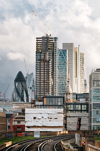 London skyline viewed from Hoxton overground station