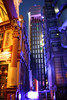 Lloyds Building - the outside lifts are lit in green,