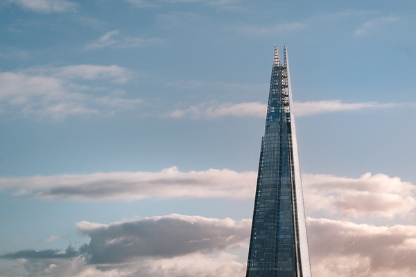 The Shard at sunrise shot from the Tate modern switch house in London