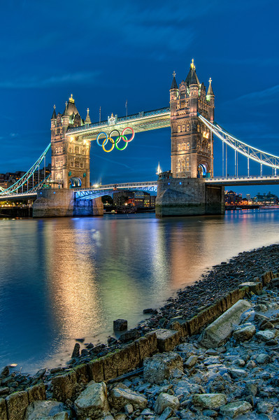 Tower Bridge with the Olympic Rings.