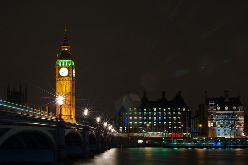 Big Ben & Westminster Bridge, London.