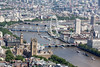 Aerial photo of The Palace of Westminster and the London Eye.