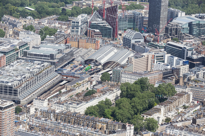 Aerial photo of London Victoria Station.