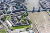 Aerial photo of the Tower of London and Tower Bridge.