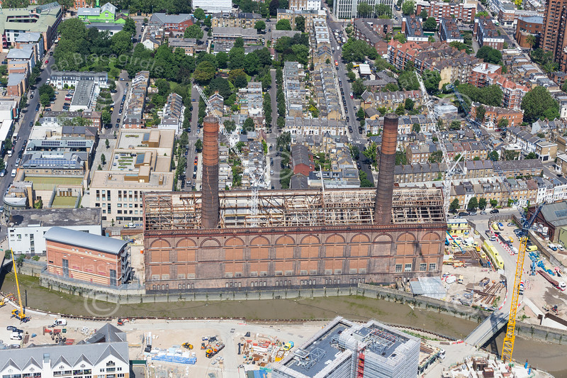 Aerial photo of Lots Road Power Station.