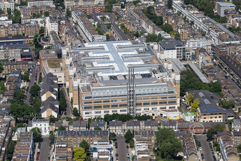 Aerial photo of Chelsea and Westminster Hospital.