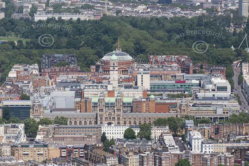 Aerial photo of The Natural History Museum, The Queen's Tower and The Royal Albert Hall.