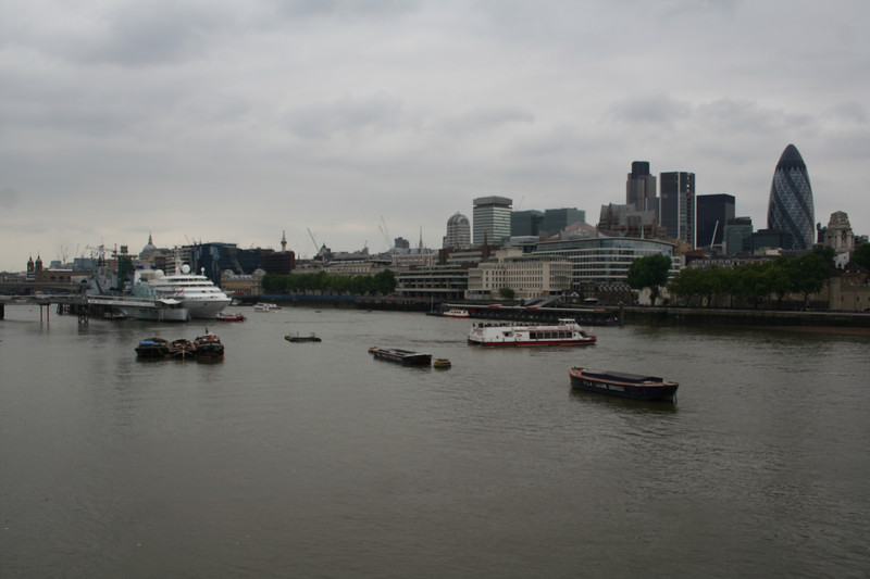 View of HMS Belfast and the City from Tower Bridge