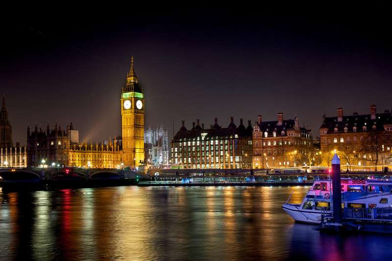River Thames, Big Ben, and Palace of Westminster at Night