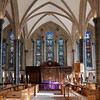 """Temple Church Chancel  <br><br> I obtained information on Temple Church from <a href=""""http://www.sacred-destinations.com/england/london-temple-church"""">Sacred Destinations</a> which has  a nice summary of the history of the church.  <br><br> The Temple Church is located off Fleet Street near the Temple tube stop in London. The church is one of three existing Norman round churches remaining in England.  <br><br> The Knights Templar constructed the church, which was consecrated in 1185 in a ceremony that may have included King Henry II. The church is in a large monastic compound that included residences, military training facilities, and recreational grounds, according to Sacred Destinations. The Knights Templar held worship services and secret initiation rights.  <br><br> """"The order of the Knights Templar was very powerful in England in this early period. The Master of the Temple sat in parliament as primus baro (the first baron of the realm). The Temple compound was regularly used as a residence by kings and by legates of the Pope."""" it is believed that the round shape of the church was patterned after the Church of the Holy Sepulcher in Jerusalem, where the Knights Templar were responsible for guarding during the Crusades. <br><br> The Temple was the scene of negotiations leading to the signing of the Magna Carta in 1215. <br><br> The church's choir was greatly enlarged in the early 1200s when King Henry III expressed a desire to be buried there and a new chancel was consecrated in 1240 in Gothic style. However, Henry changed his mind and was buried in Westminster Abbey. <br><br> The power of the Knights Templar waned in the 14th century. Leaders were charged with various crimes and imprisoned in the Tower of London. The Knights of Malta gained control of the property.  <br><br> Although the Great Fire of London did not touch Temple Church in 1666, it was renovated in a Victorian Gothic style by architectural great Sir Christopher Wren (architect of many churches inc"""